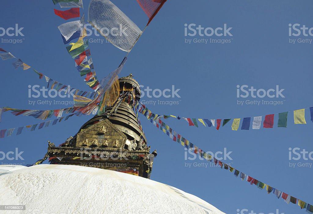 Top of Swayambhunath stupa in Kathmandu,Nepal royalty-free stock photo