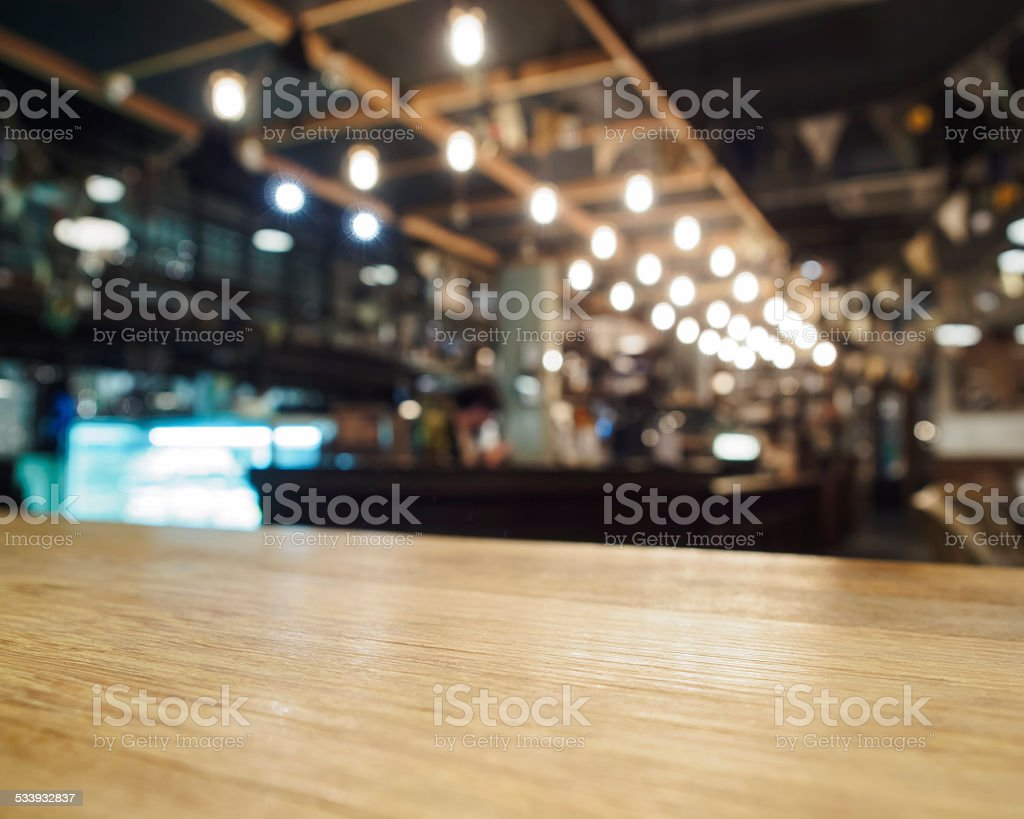 Top of table with Bar Cafe Restaurant blurred background stock photo