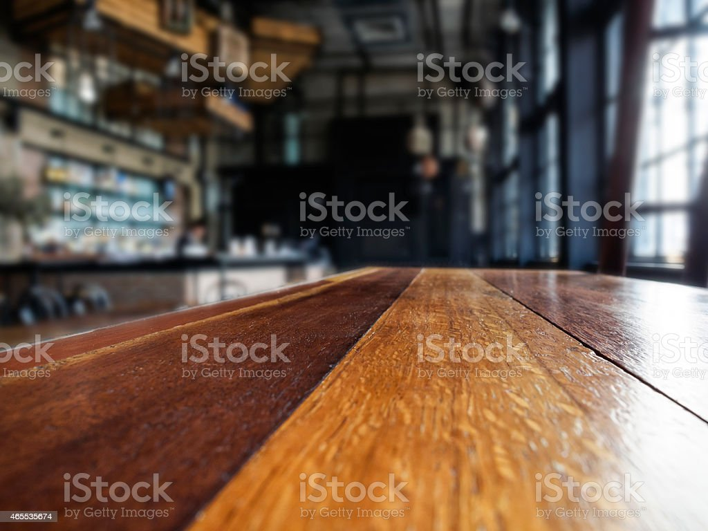Top of table with Restaurant Interior blurred background stock photo