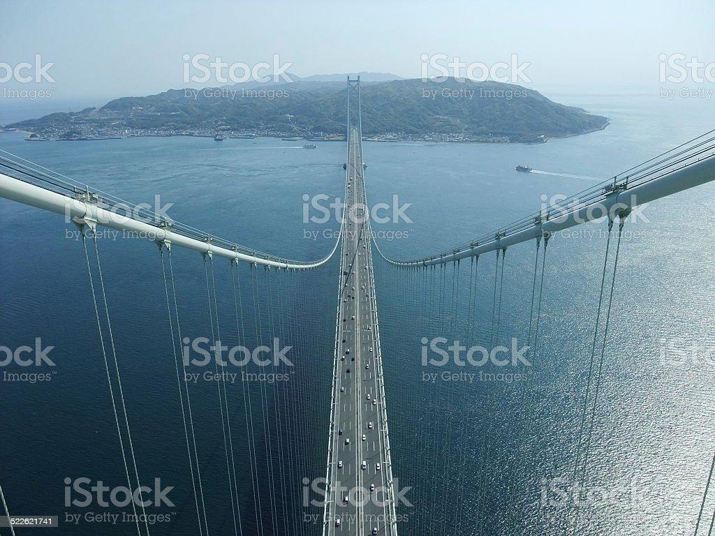 Parte superior de Akashi Kaikyo puente, Japón foto de stock libre de derechos