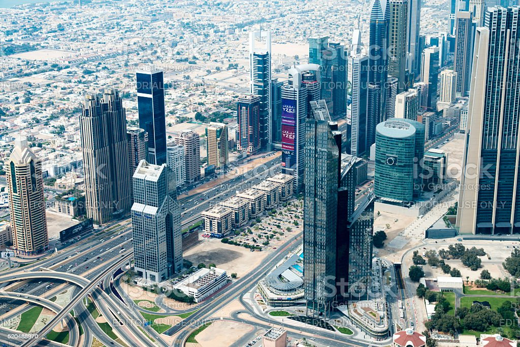 Top of the Burj Kalifa in Dubai, UAE stock photo