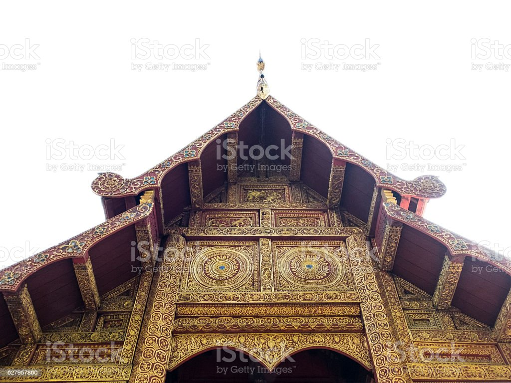top of the chapel in Wat Prasing, on white isolate stock photo