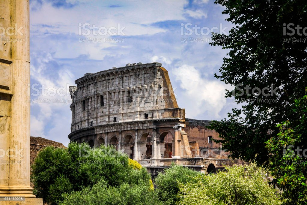 Top of the Colosseum from Palatine Hill stock photo