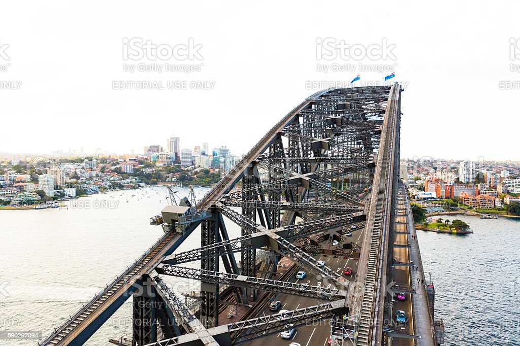 Top of the Harbour Bridge Sydne Australia, copy space stock photo