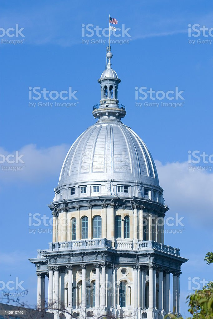 Top of the Illinois State Capitol Building stock photo