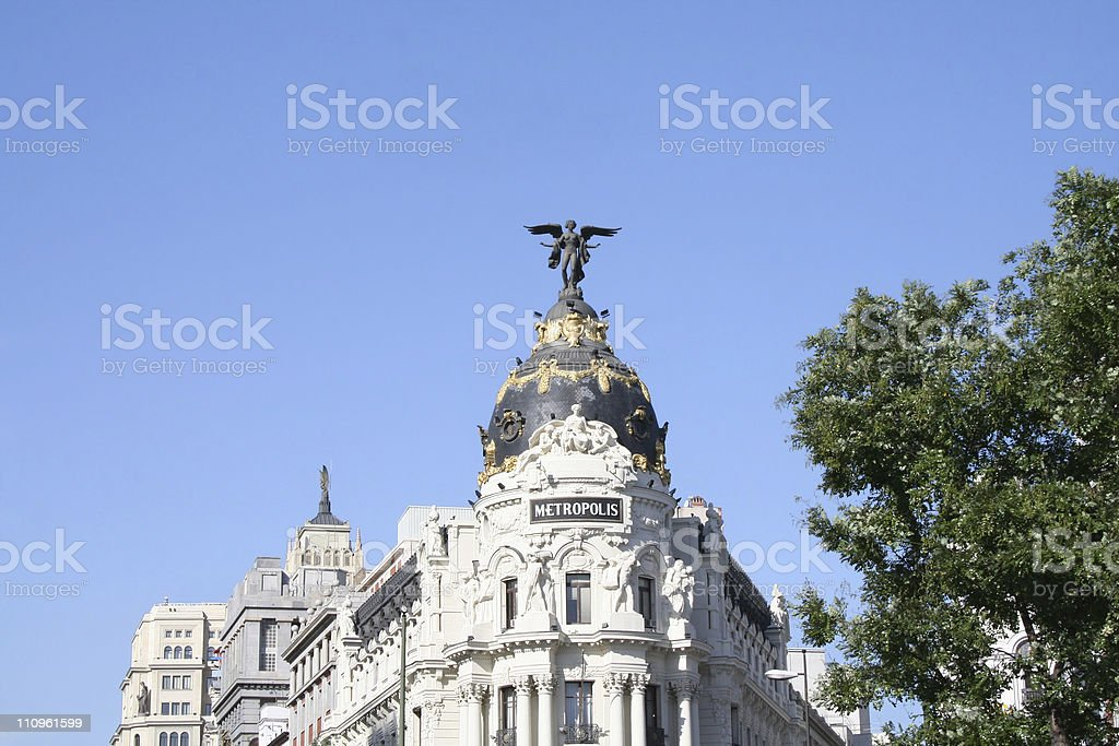 Top of the Metropolis Building in Madrid, Spain. royalty-free stock photo