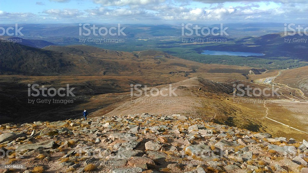 Top of the mountain at Aviemore stock photo