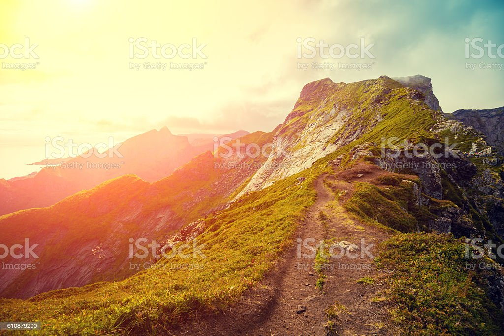 Top of the mountain at sunset light. stock photo