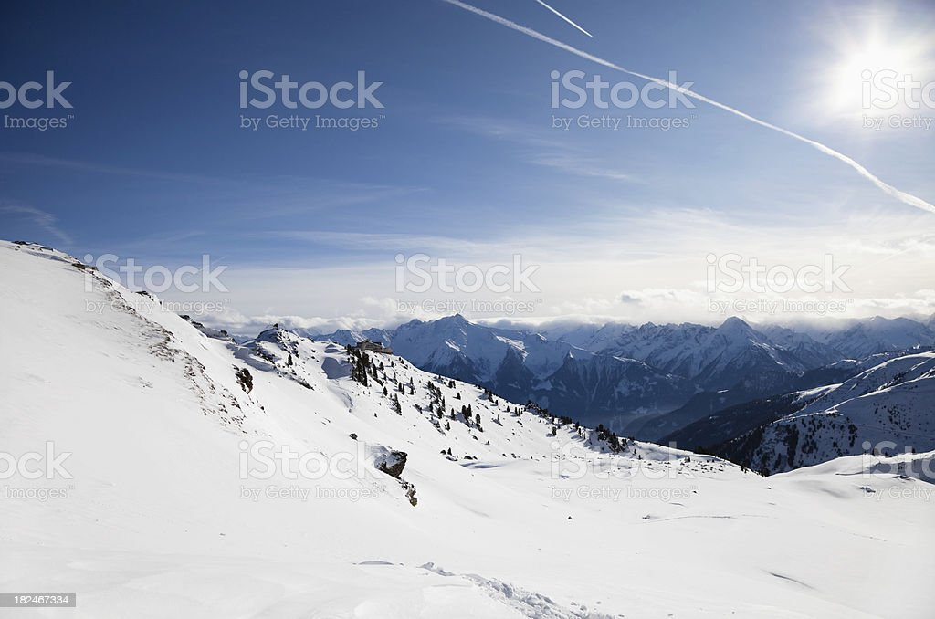 Top of the mountains covered with snow royalty-free stock photo