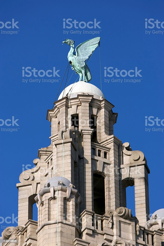 Top of the Royal Liver Building stock photo