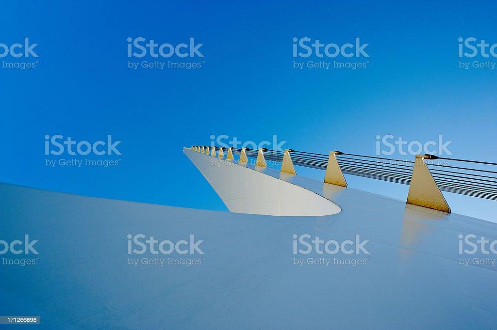 Top of the Sun Dial Bridge in Redding, California closeup stock photo