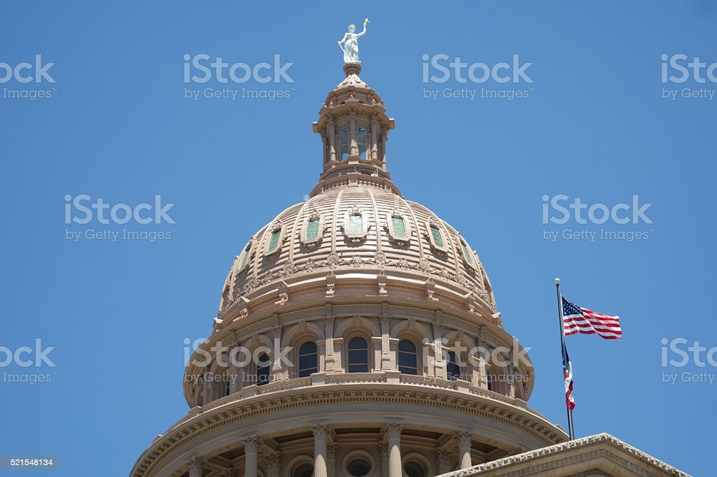 Top of the Texas State Capitol Building in Austin, TX stock photo