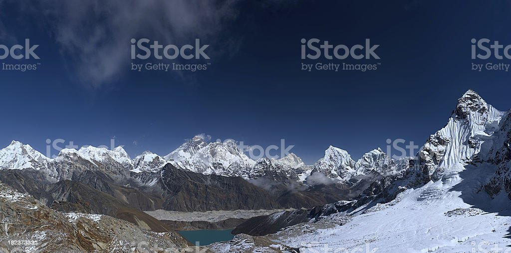 Top of the world - Mount Everest panorama 99MPix royalty-free stock photo