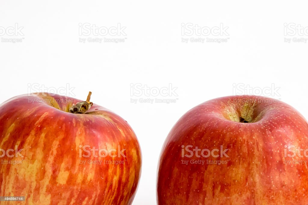 Top of two Jonathan apples stock photo