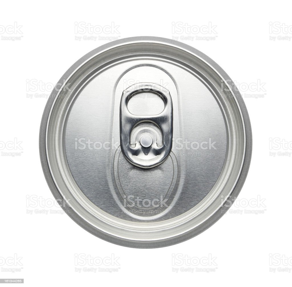 Top of unopened soda or beer can, Realistic photo image stock photo