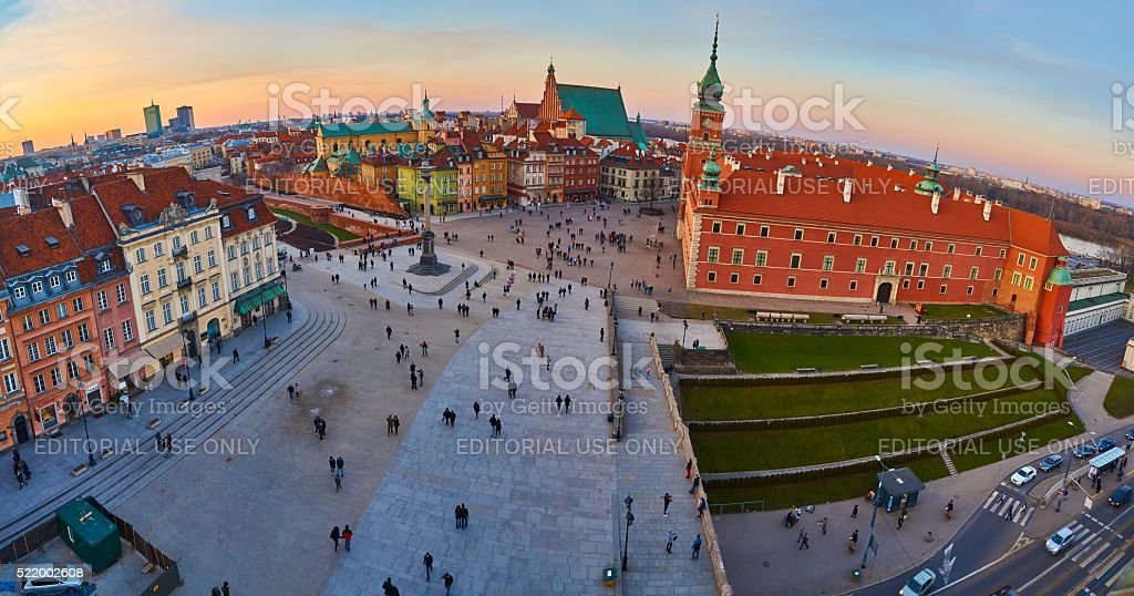 Top Panoramic view of Royal castle, Warsaw old town, Poland. stock photo