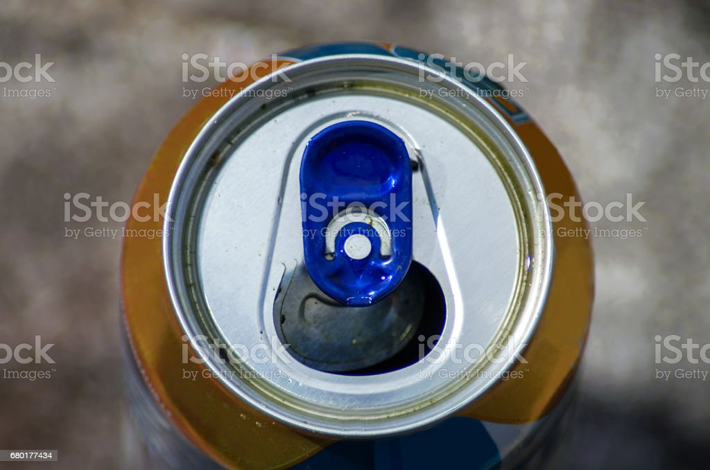 Top part of beer can, close up view stock photo
