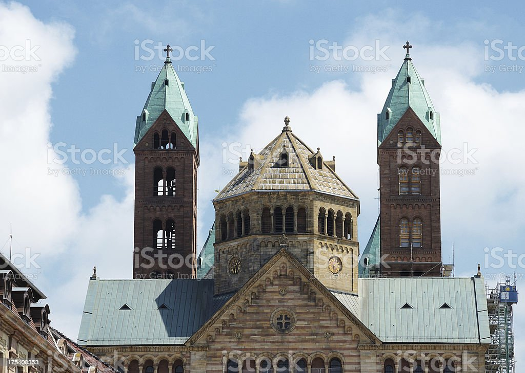 Top part of imperial cathedral in speyer germany stock photo