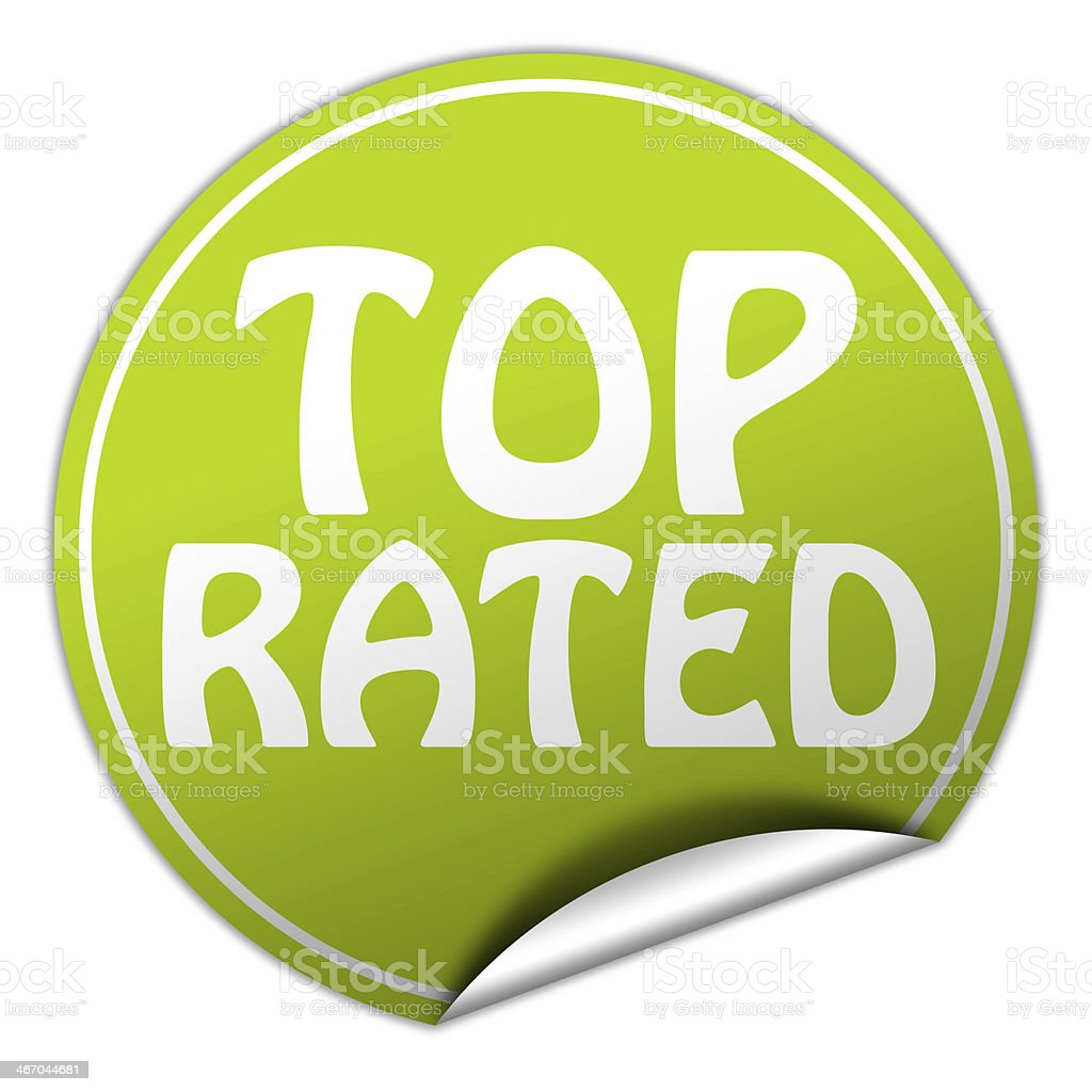 top rated round green sticker on white background stock photo
