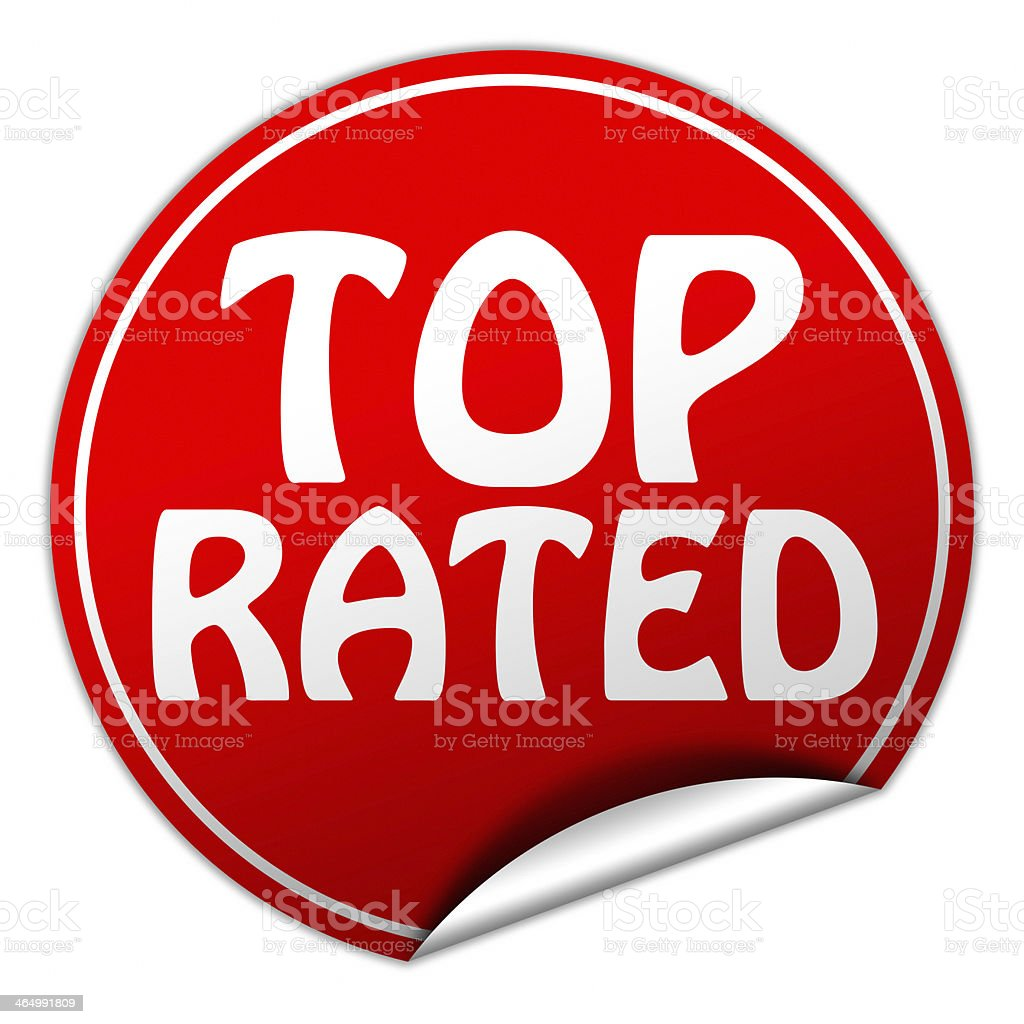 top rated round red sticker on white background stock photo