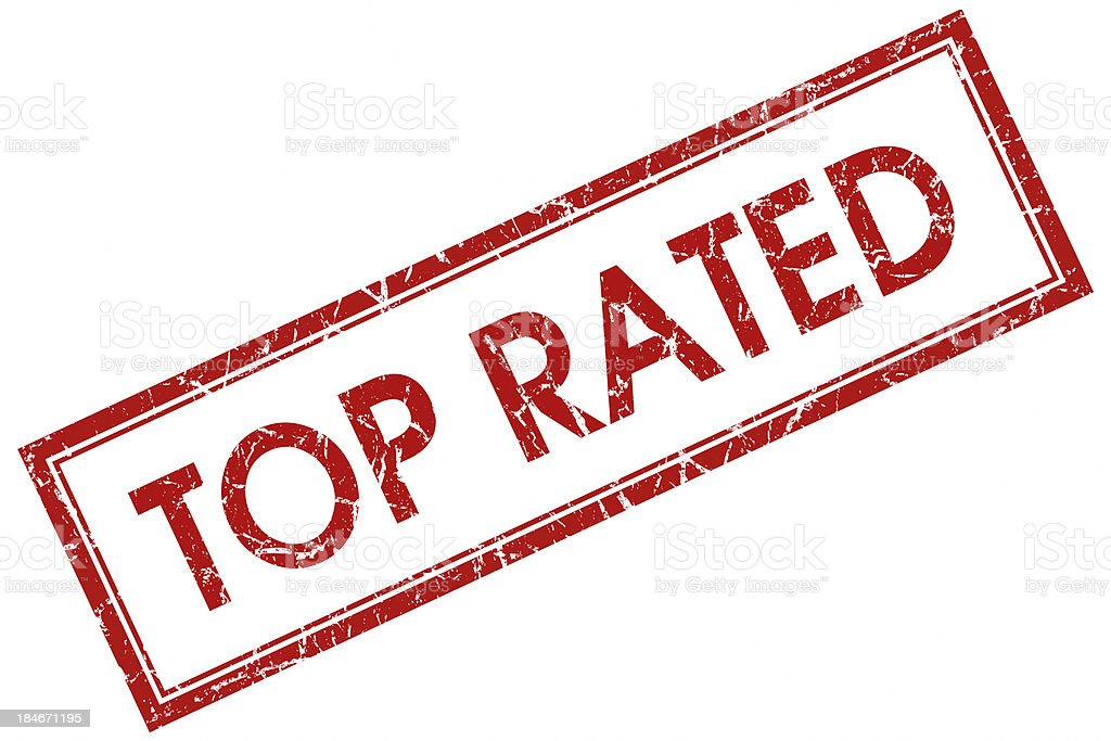top rated square red stamp stock photo