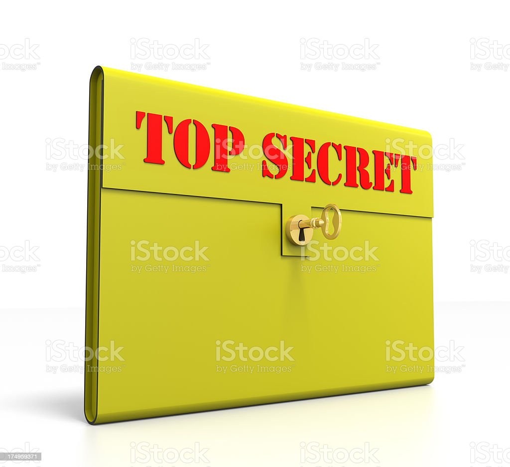Top Secret Brief Case with gold key royalty-free stock photo