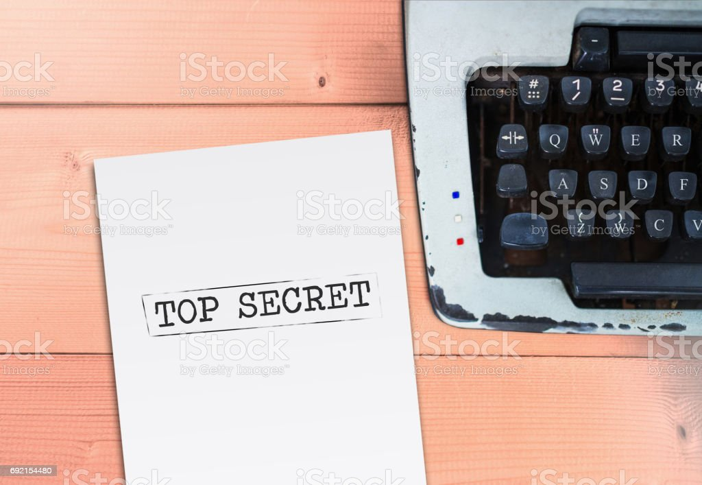 Top secret on paper with typewriter stock photo