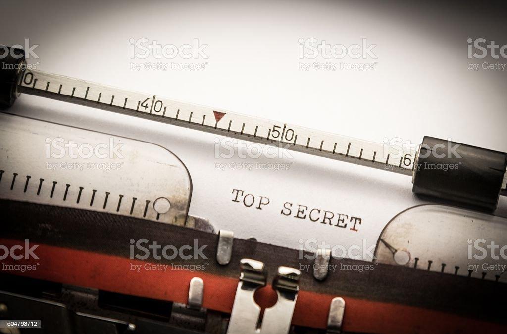 top secret text on typewriter stock photo
