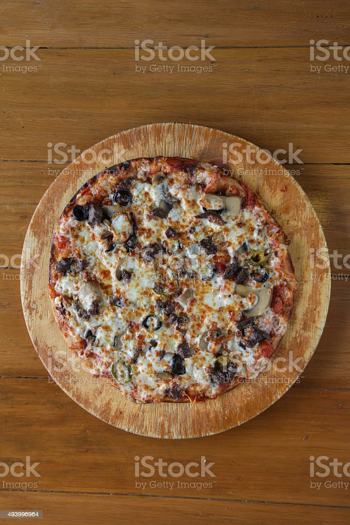 Top shot of meat steak flat bread pizza stock photo