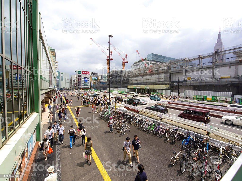 Top side view of bicycle parking at  Shinjuku, Tokyo stock photo