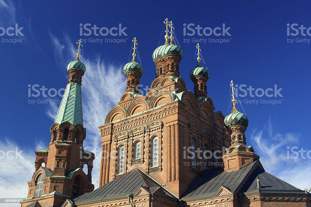 Top towers of Tampere Orthodox Church stock photo