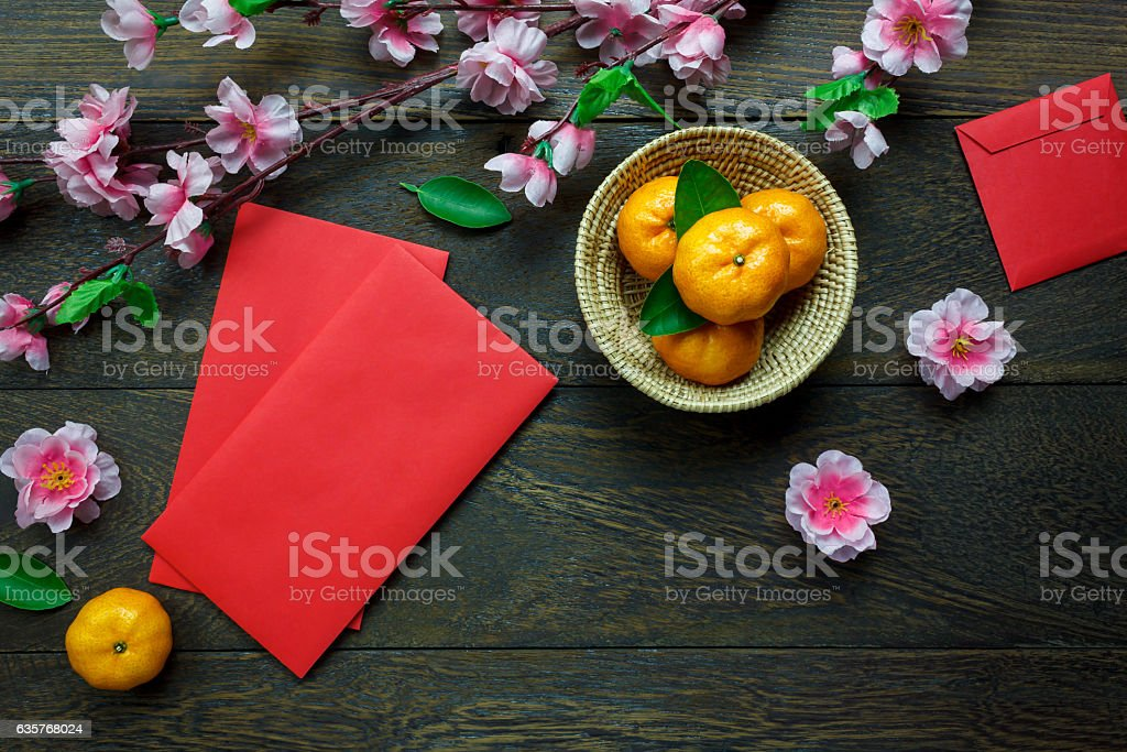 Top view accessories Chinese new year festival decorations. stock photo