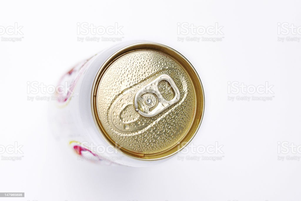 top view aluminum can stock photo