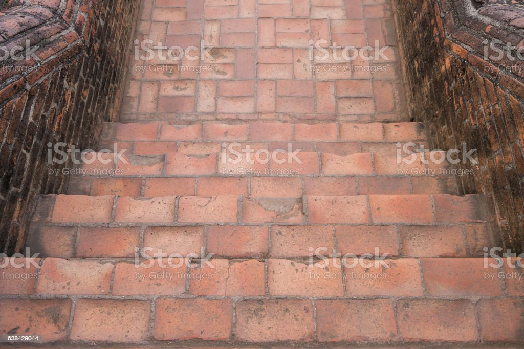 Top view ancient stairs at temple in Ayutthaya, Thailand stock photo