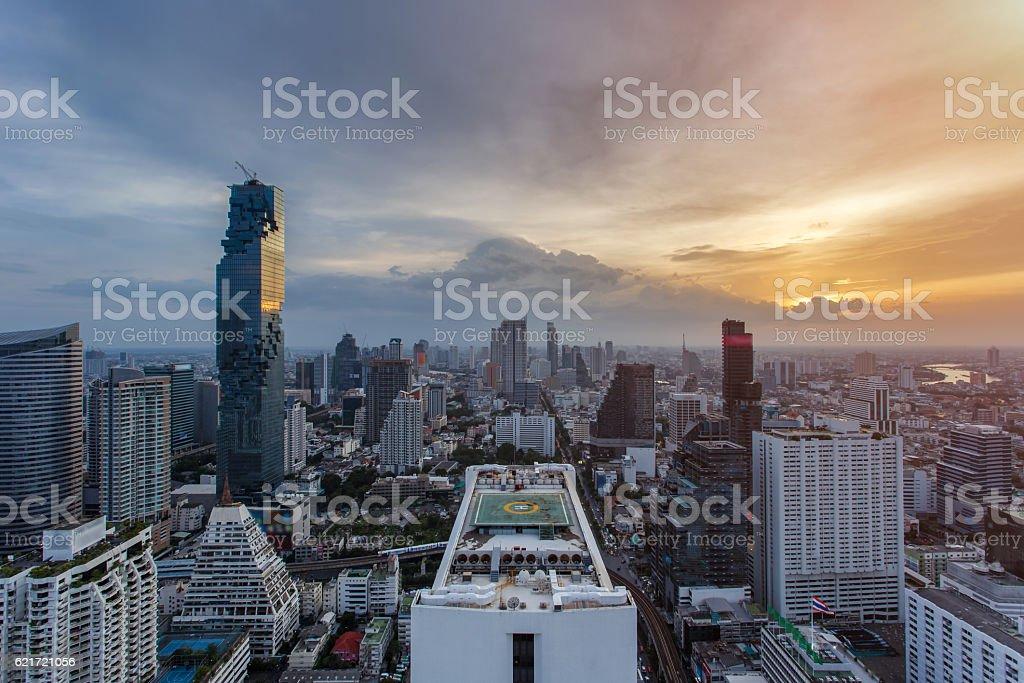 Top view Bangkok financial district stock photo