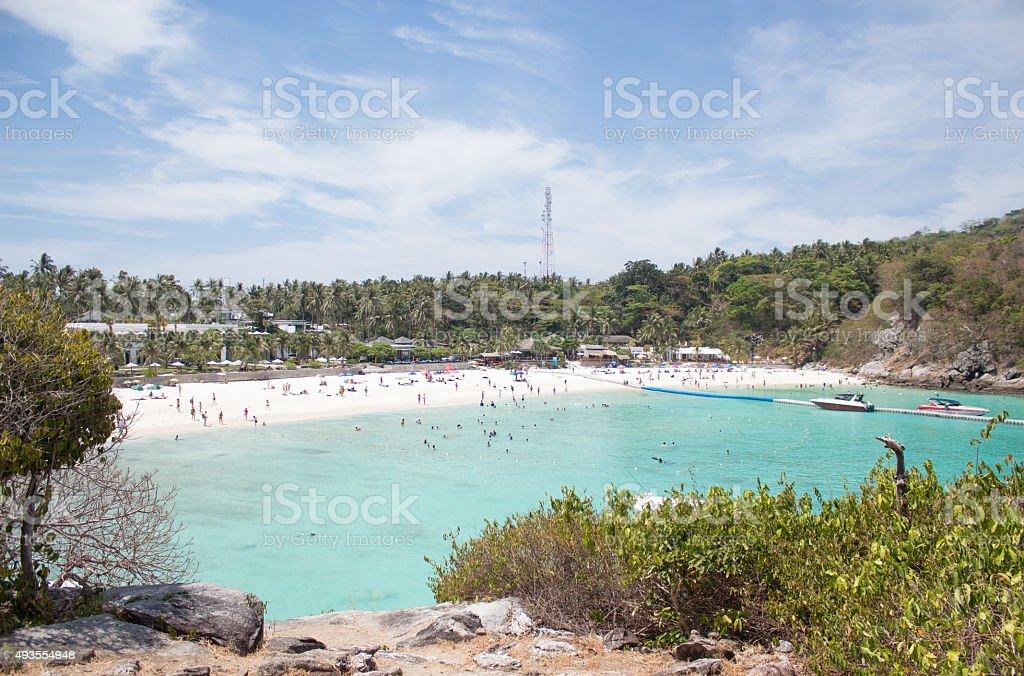 Вид сверху пляж bay, Raya острова Пхукет, Стоковые фото Стоковая фотография
