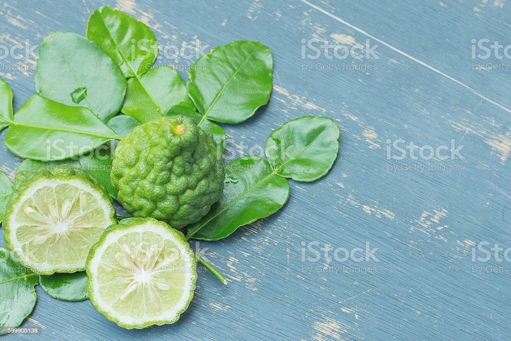 Top view Bergamot with green leafs. stock photo