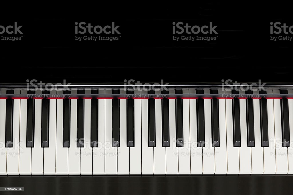 top view black piano keyboard stock photo
