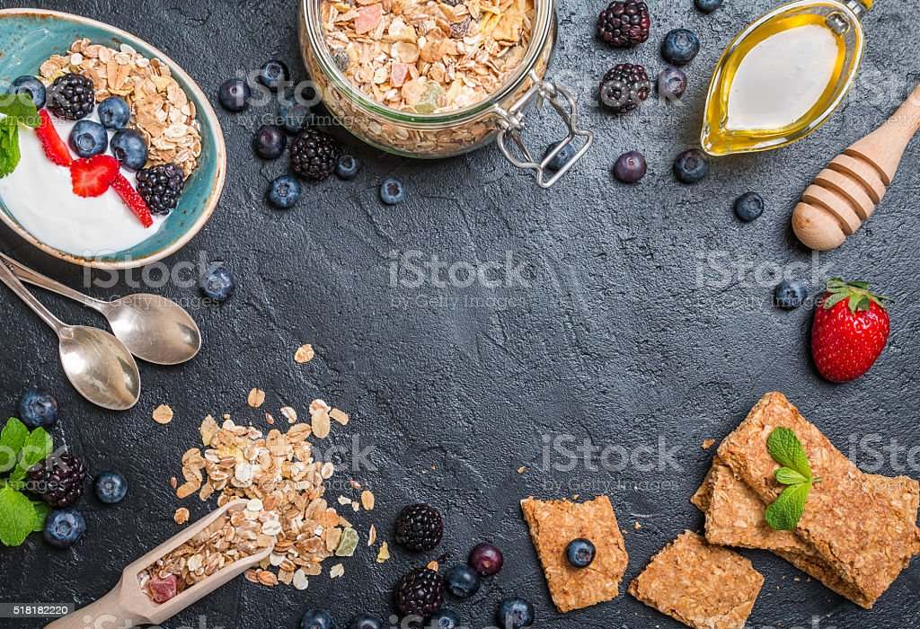 Top view blackboard with copyspace from granola stock photo