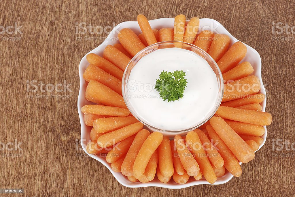 Top view carrots with salad dip royalty-free stock photo