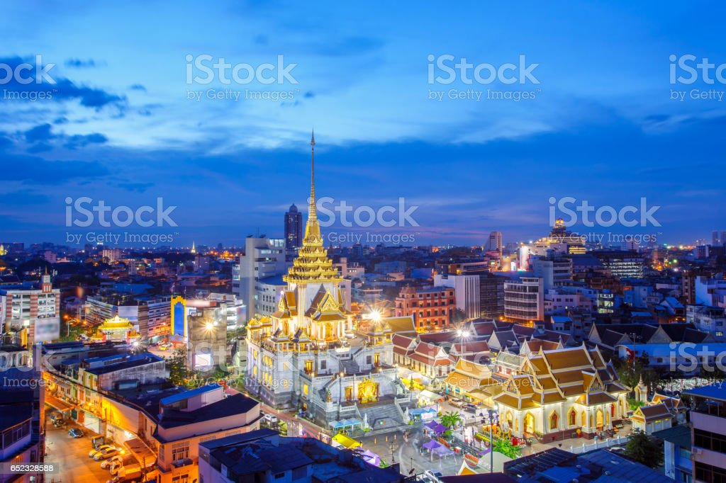 Top view cityscape Wat Trimitr in chinatown or yaowarat area in bangkok city, Bangkok, Thailand stock photo