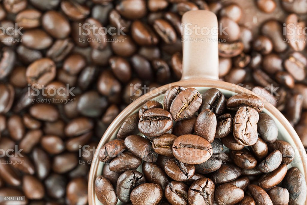 Top view coffee beans in coffee cup stock photo