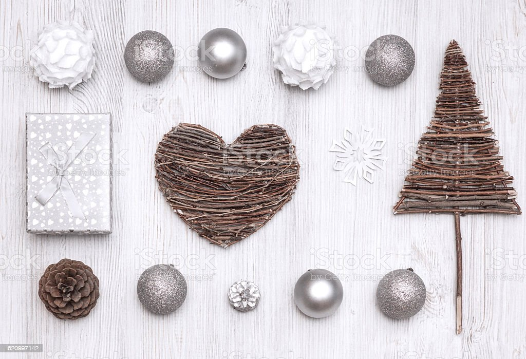 Top view collection of Christmas stock photo