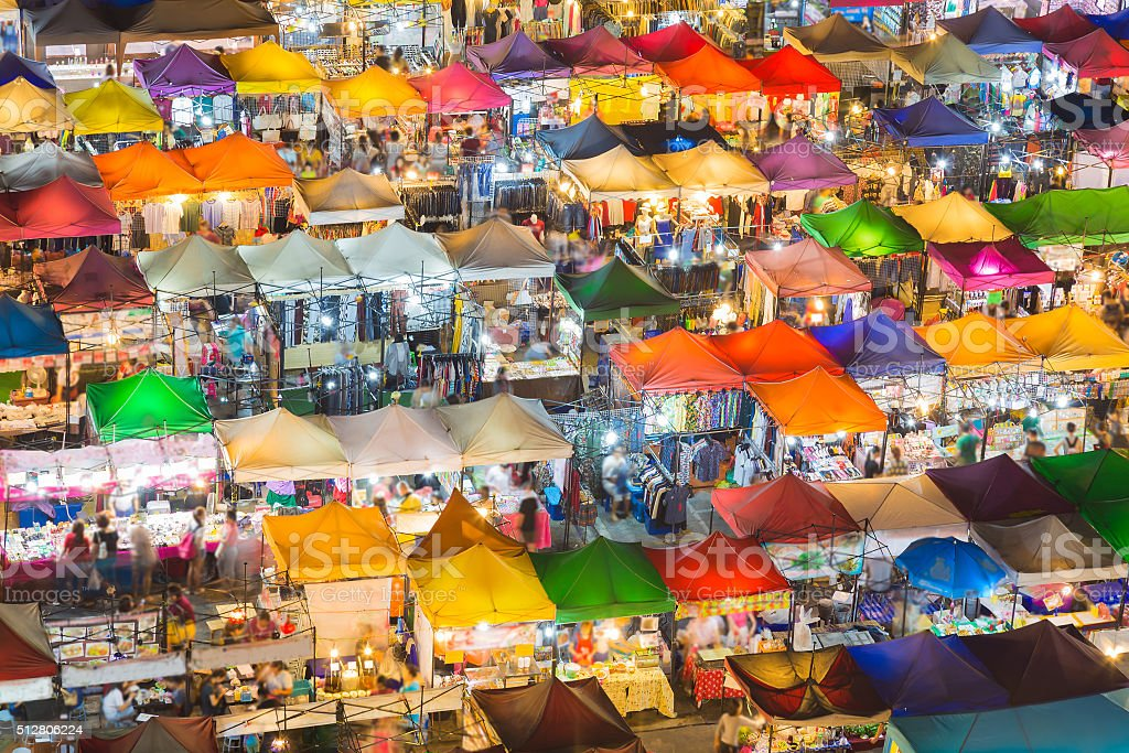 Top view colourful over Weekend market at night stock photo