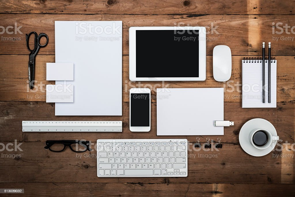 Top view corporate design template stock photo