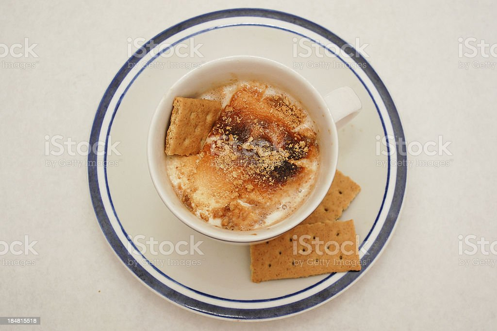 Top view cup of hot cocoa royalty-free stock photo