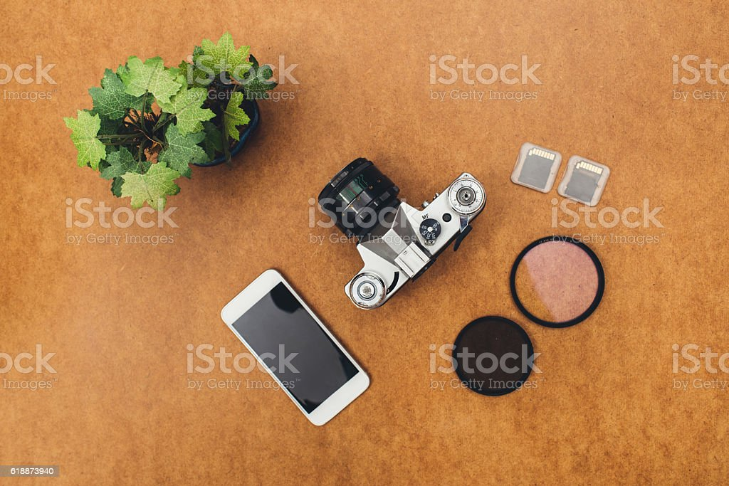 Top view desk with copy space stock photo