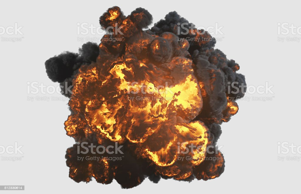 Top view explosion with clipping path stock photo