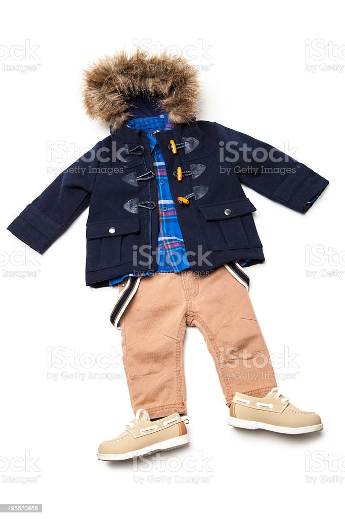 Top view fashion trendy look of kids clothes stock photo