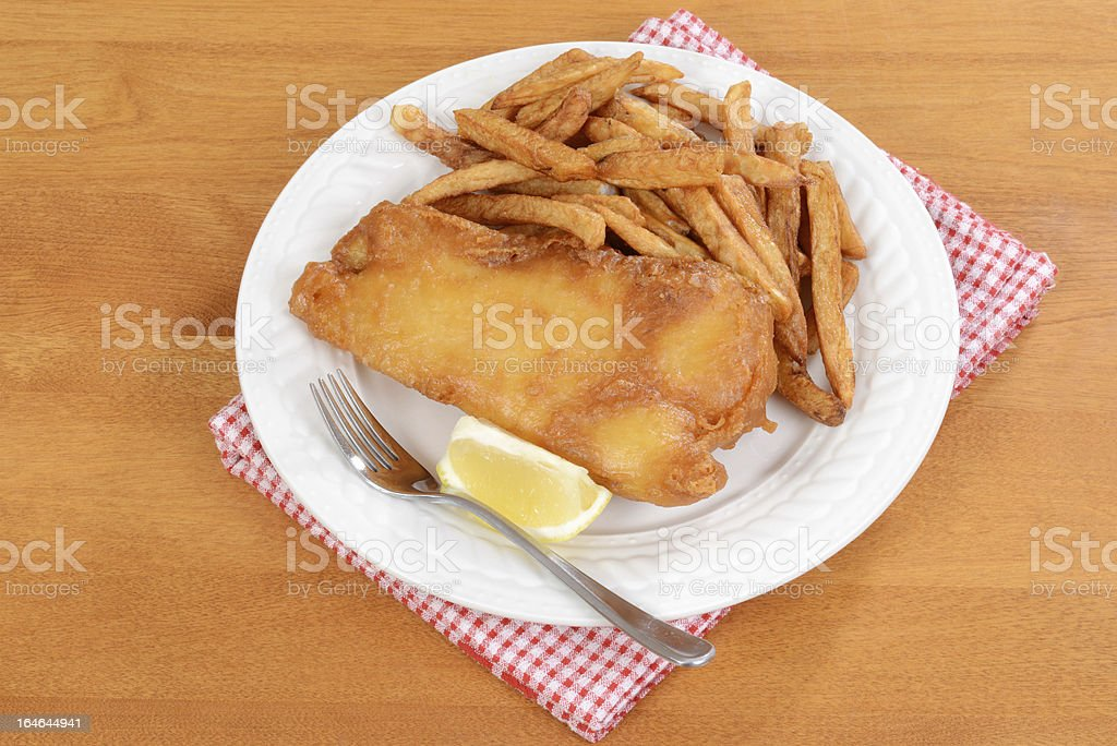 top view fish and chips royalty-free stock photo